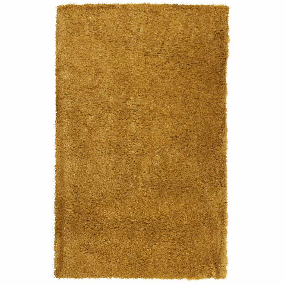Home Decorators Collection Faux Sheepskin Camel 8 ft. x 11 ft. Area Rug
