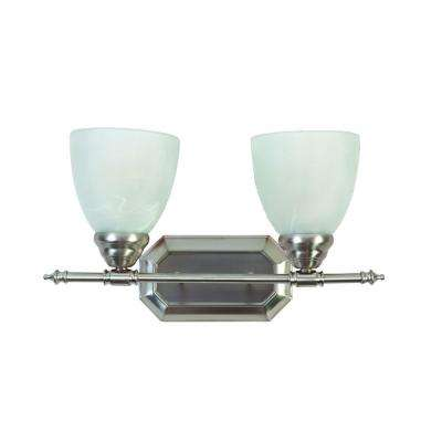Vanity Lighting Series 2-Light Brushed Nickel Bathroom Vanity Light with White Glass Shade