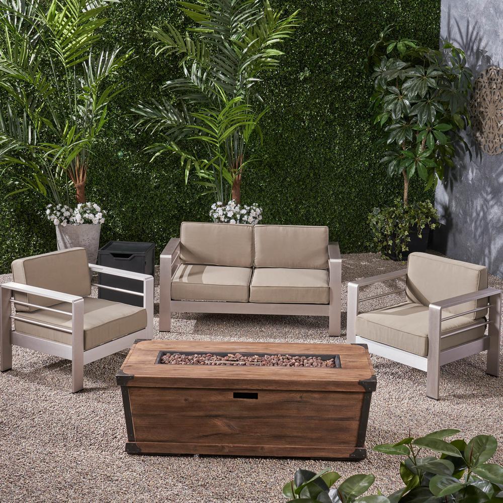Noble House Cape Coral Silver 5-pc Aluminum Patio Fire Pit Seating Set w/ Khaki Cushions