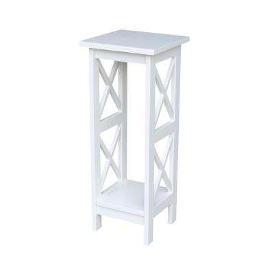 Solid Wood 30 in. H White Plant Stand