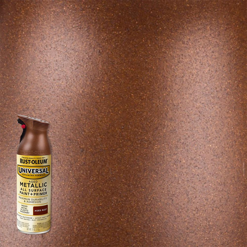 Rust Oleum Universal 11 Oz All Surface Metallic Aged Rust Spray Paint And Primer In One 342494 The Home Depot