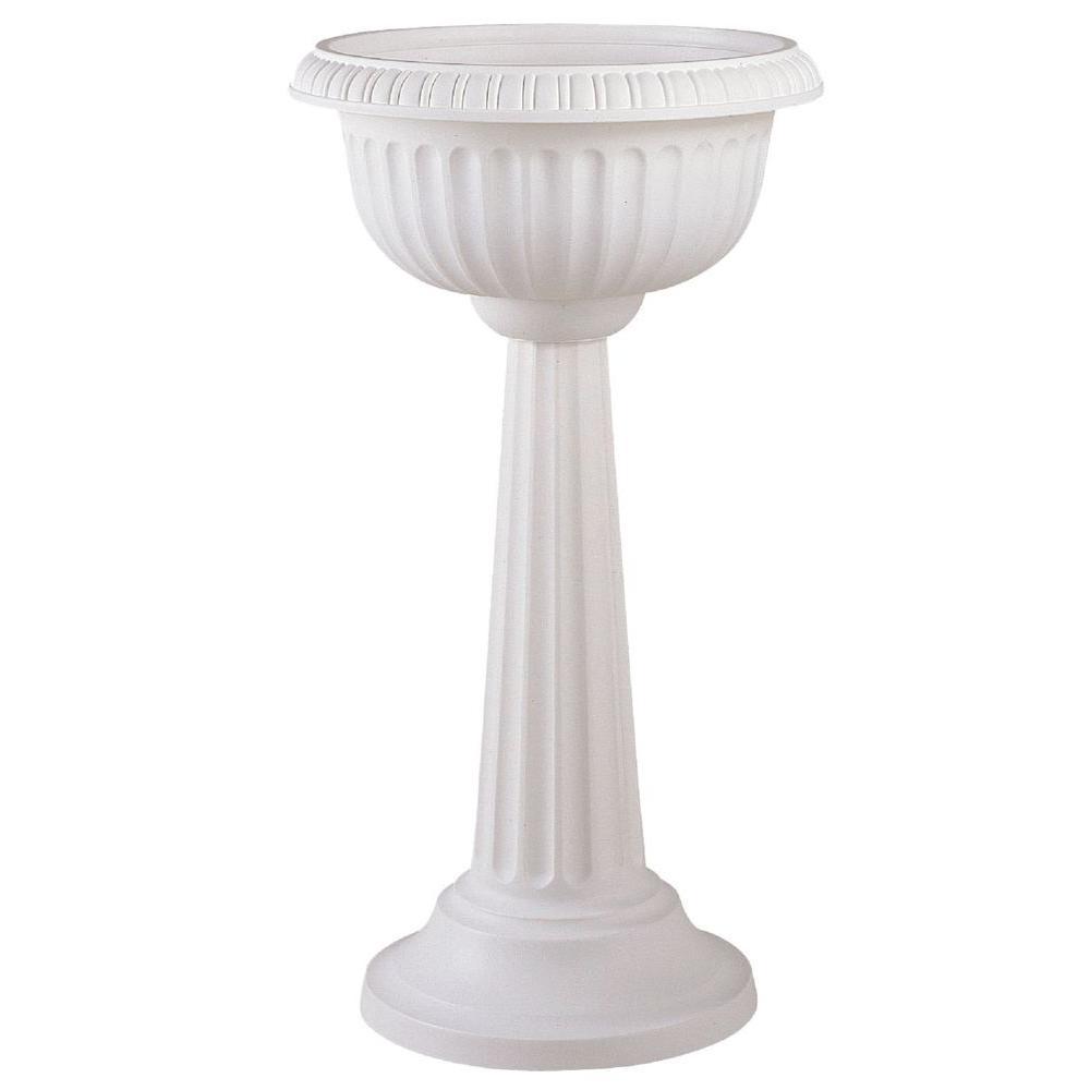 18 x 32 White Grecian Plastic Urn Pedestal Planter