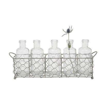 5-Glass Clear Bottles/Vases with Silver Wire Holder