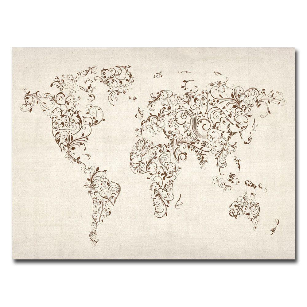 Trademark Fine Art 35 in. x 47 in. World Map - Swirls Canvas Art