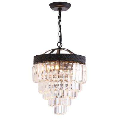 Wyatt 12 in. 2-Light Bronze/Clear Crystal Chandelier
