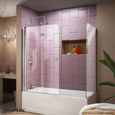 Aqua Fold 56 in. to 60 in. x 58 in. Semi-Framed Hinged Tub Door with Return Panel in Chrome