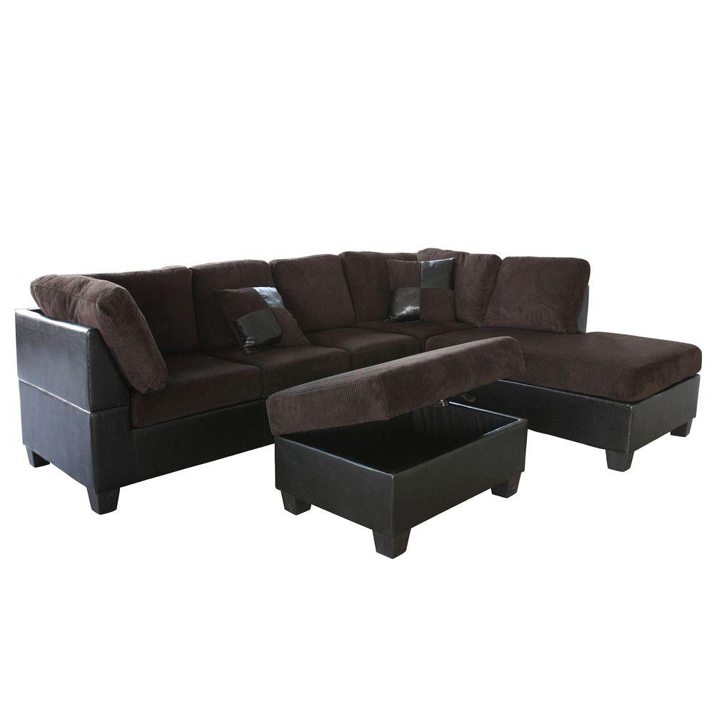 Venetian Worldwide Taylor 2-Piece Chocolate Brown Corduroy Sectional  sc 1 st  The Home Depot : chocolate corduroy sectional - Sectionals, Sofas & Couches