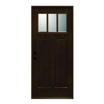 Craftsman Collection 3 Lite Prefinished Antique Mahogany Type Solid - Antique - Front Doors - Exterior Doors - The Home Depot
