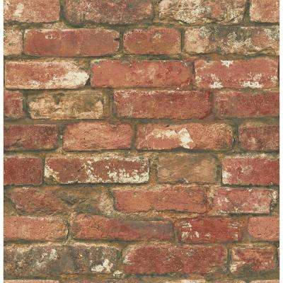 30.75 sq. ft. Red West End Brick Peel and Stick Wallpaper