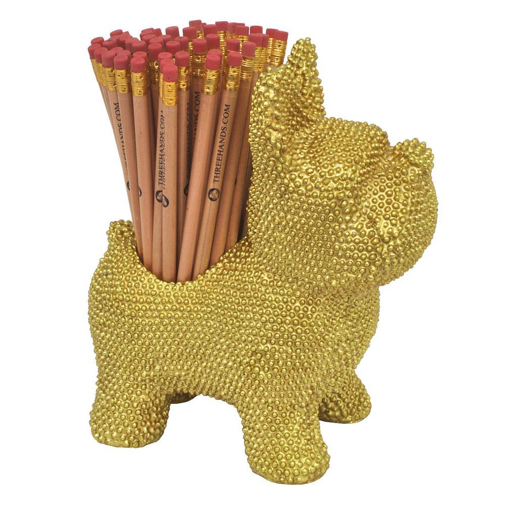 Decorative Gold Resin Dog Pencil Holder