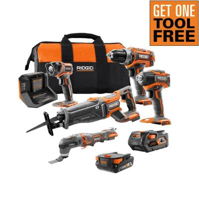 18V Lithium-Ion Brushless 4-Tool Combo Kit with (1)2.0 Battery, (1)4.0 Battery, Charger, Bag with Free OCTANE Multi-Tool