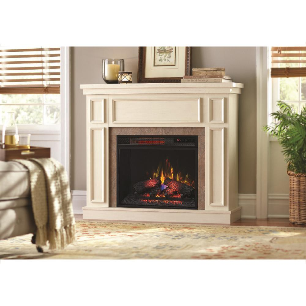Home Decorators Collection Granville 43 In Convertible Mantel Electric Fireplace Antique White With Faux