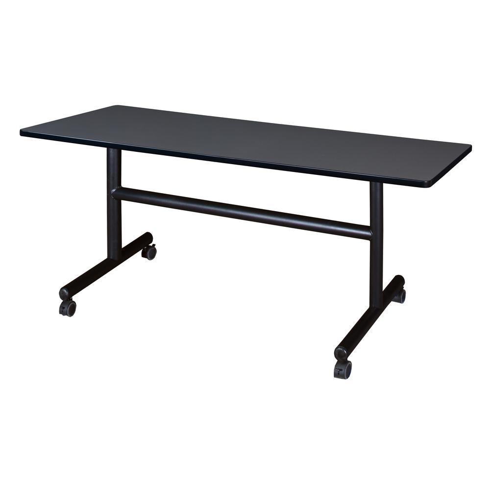 Kobe Grey 60 in. W x 30 in. D Flip Top Mobile Training Table