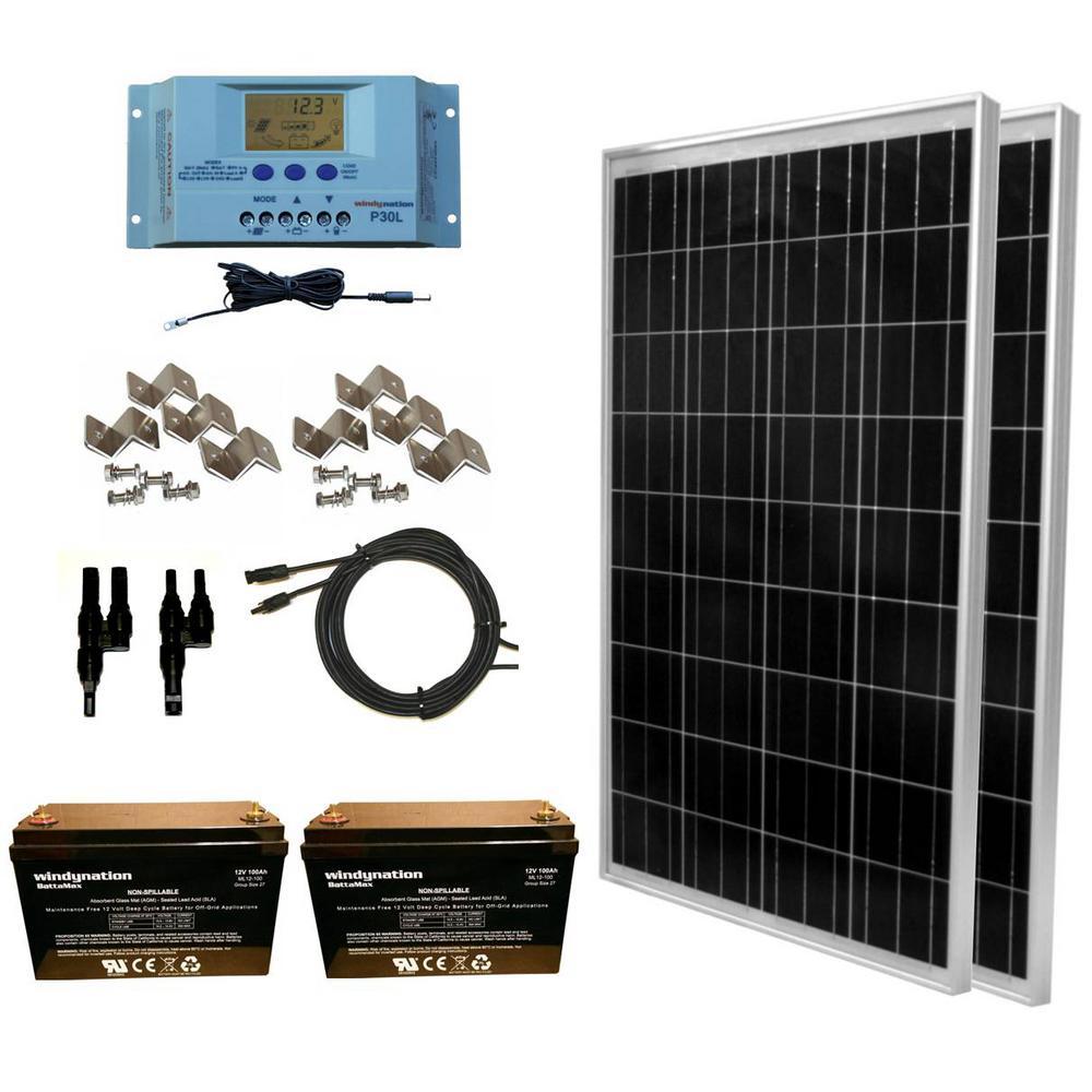 WindyNation 200-Watt Off-Grid Polycrystalline Solar Panel Kit with 12-Volt AGM Deep Cycle Battery