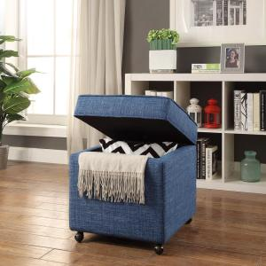 Awesome Inspired Home Laurie Blue Linen Upholstered Rolling Cube Unemploymentrelief Wooden Chair Designs For Living Room Unemploymentrelieforg