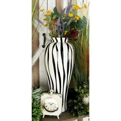 28 in. Contemporary Zebra Black and White Polystone Decorative Vase