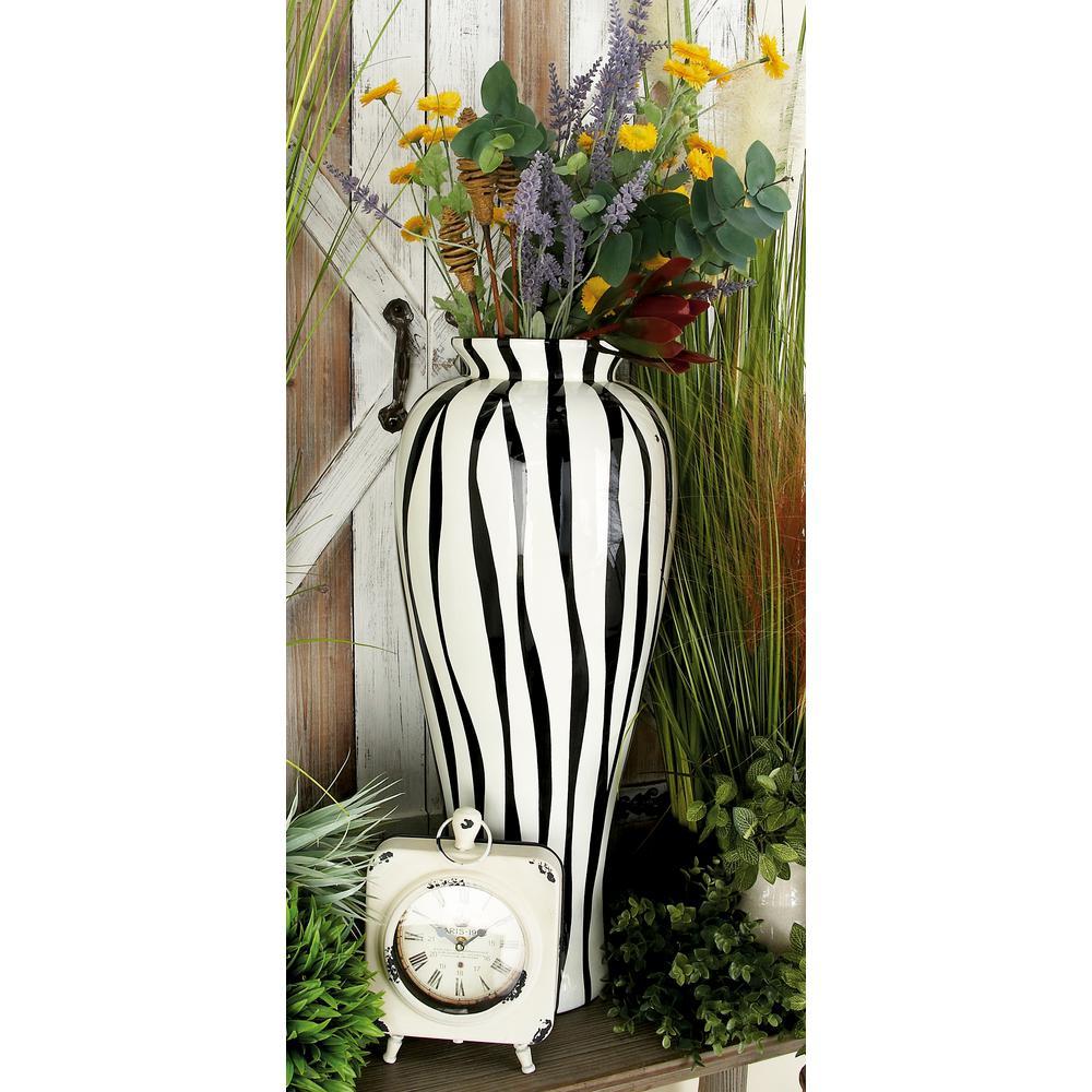 28 in. Contemporary Zebra Black and White Polystone Decorative Vase