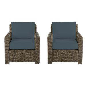 Laguna Point Brown Wicker Outdoor Patio Lounge Chair with Sunbrella Denim Blue Cushions (2-Pack)