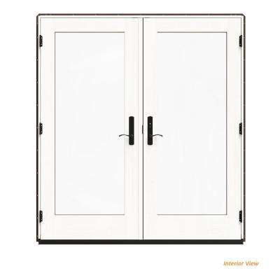 72 in. x 80 in. W-4500 Brown Clad Wood Left-Hand Full Lite French Patio Door w/White Paint Interior