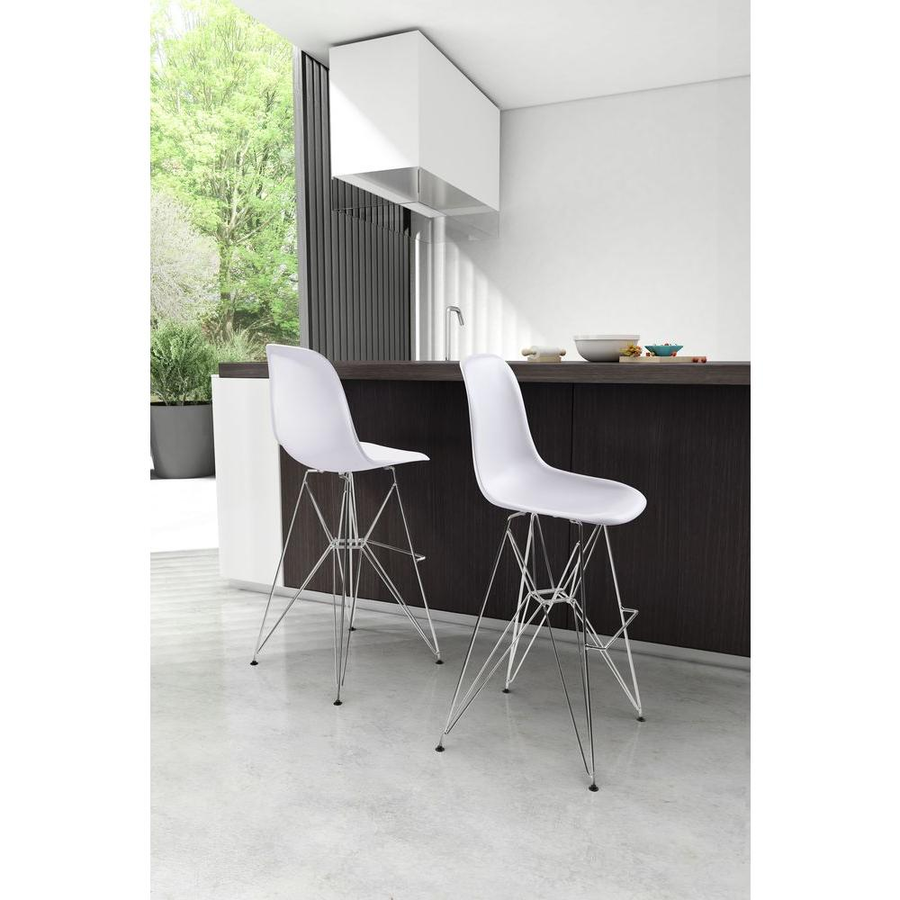 Zuo Zip 287 In White Bar Stool 100323 The Home Depot