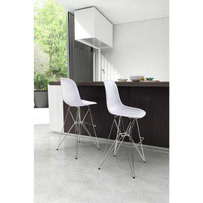 Zip 28.7 in. White Bar Stool