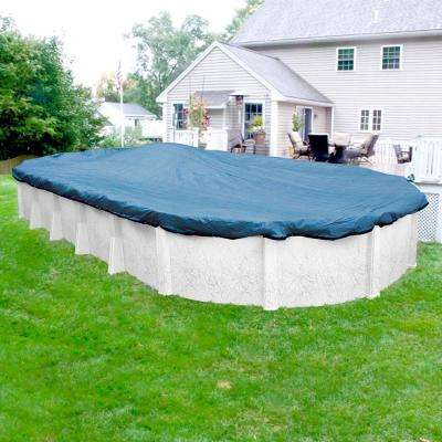 Econo Mesh 15 ft. x 27 ft. Pool Size Oval Blue Mesh Winter Above Ground Pool Cover