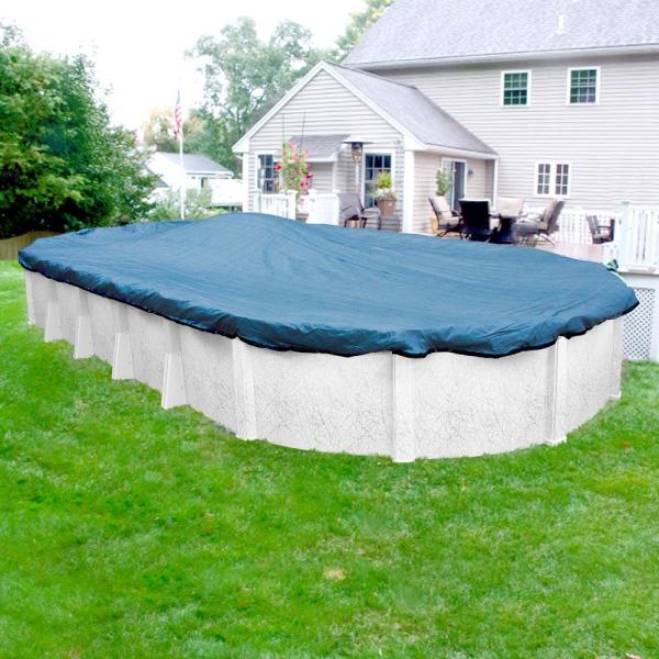 Econo Mesh 16 ft. x 25 ft. Oval Blue Mesh Above Ground Winter Pool Cover