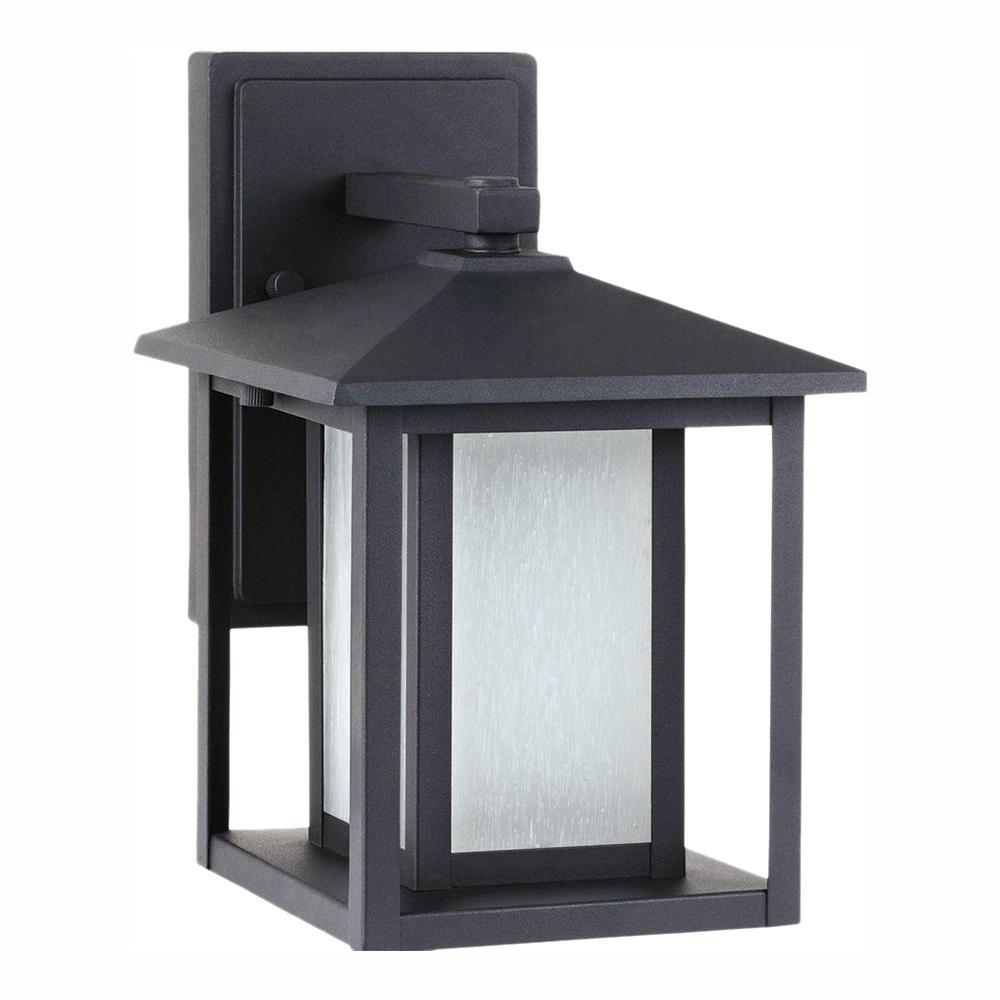 Sea Gull Lighting Hunnington 1-Light Black Outdoor 11 in. Wall Lantern Sconce
