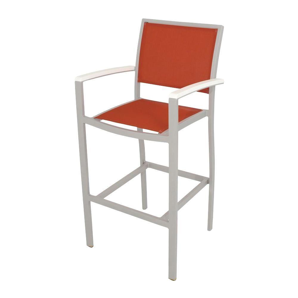 Bayline Textured Silver/White/Salsa Sling Patio Bar Arm Chair