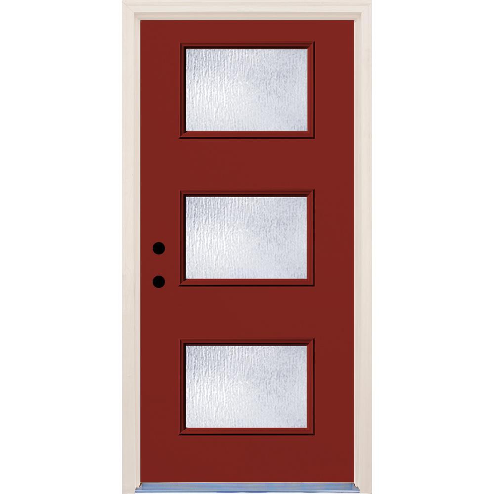 36 in. x 80 in. Cordovan 3 Lite Rain Glass Painted Fiberglass Prehung Front Door with Brickmould