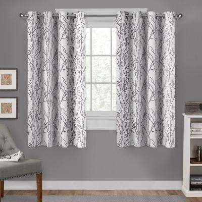 Branches 54 in. W x 63 in. L Linen Blend Grommet Top Curtain Panel in Black Pearl (2 Panels)