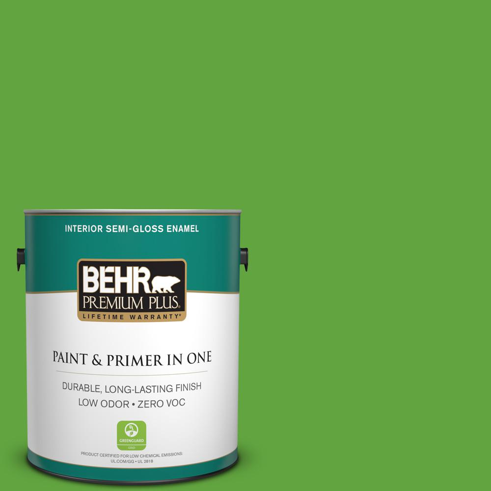 BEHR Premium Plus 1 gal. #430B-6 Caterpillar Semi-Gloss Enamel Zero VOC Interior Paint and Primer in One
