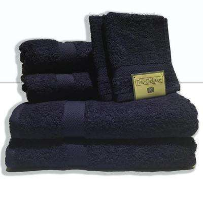 Deluxe 6-Piece Cotton Terry Bath Towel Set in Navy