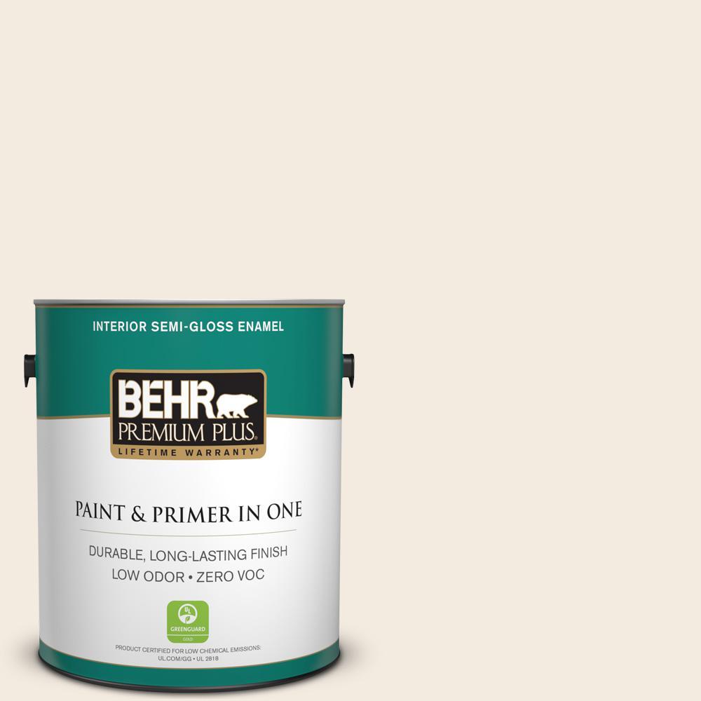 BEHR Premium Plus 1-gal. #PPL-52 Light Touch Zero VOC Semi-Gloss Enamel Interior Paint