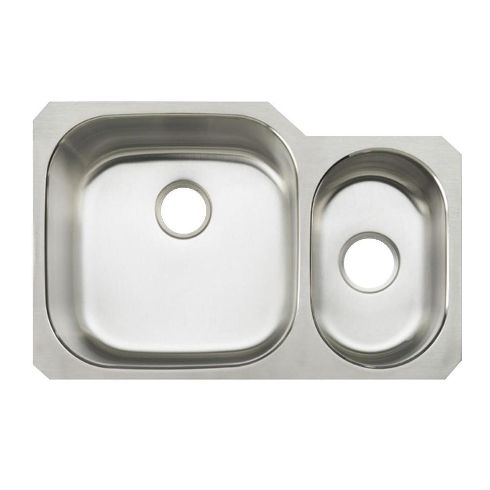 KOHLER Undertone Undermount Stainless Steel 31 in. Double Bowl Kitchen Sink