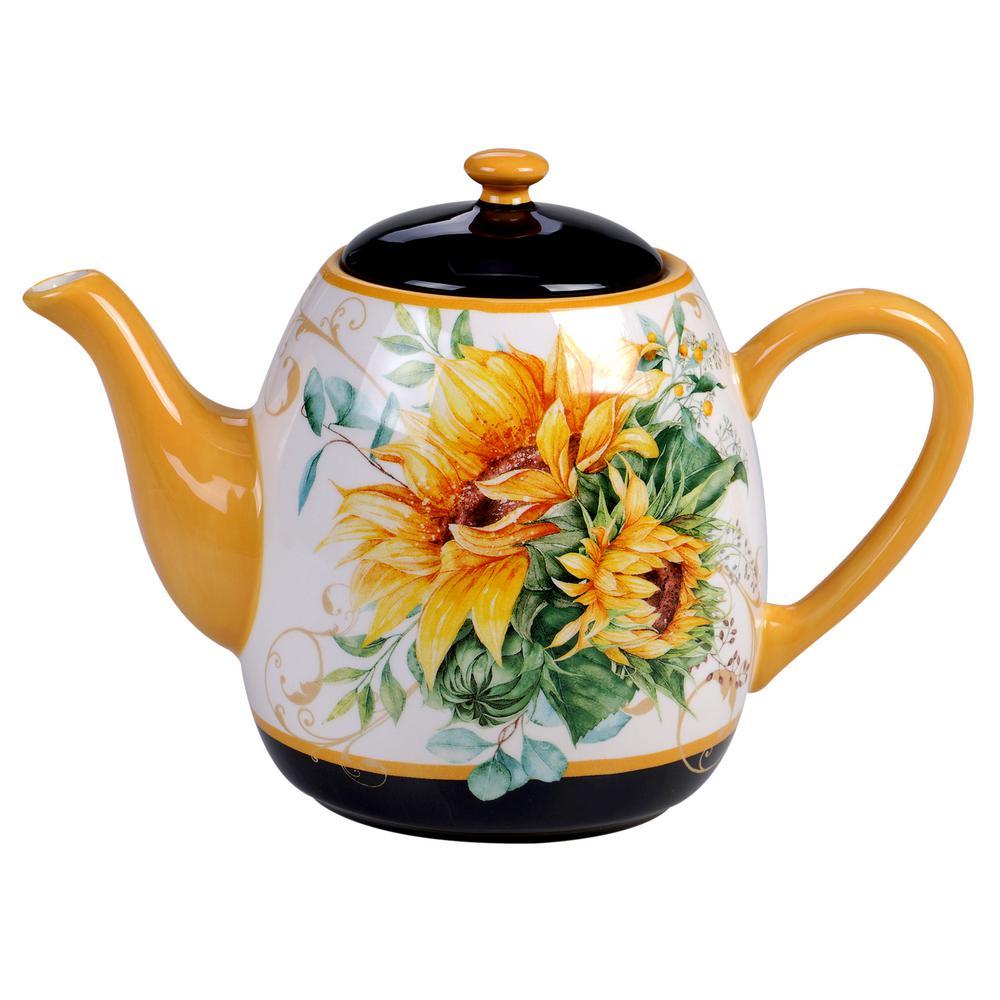 Sunflower Fields 40 oz. 4-Cup Multicolored Teapot