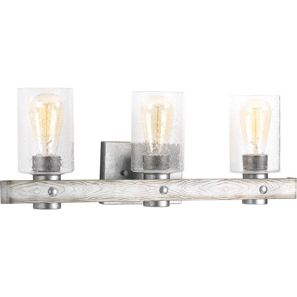 progress lighting gulliver 3 light galvanized bath light 14041