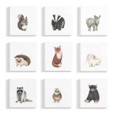"9pc, each 12 in. x 12 in. ""Watercolor Woodland Animal Illustration"" by Studio Q Canvas Wall Art"