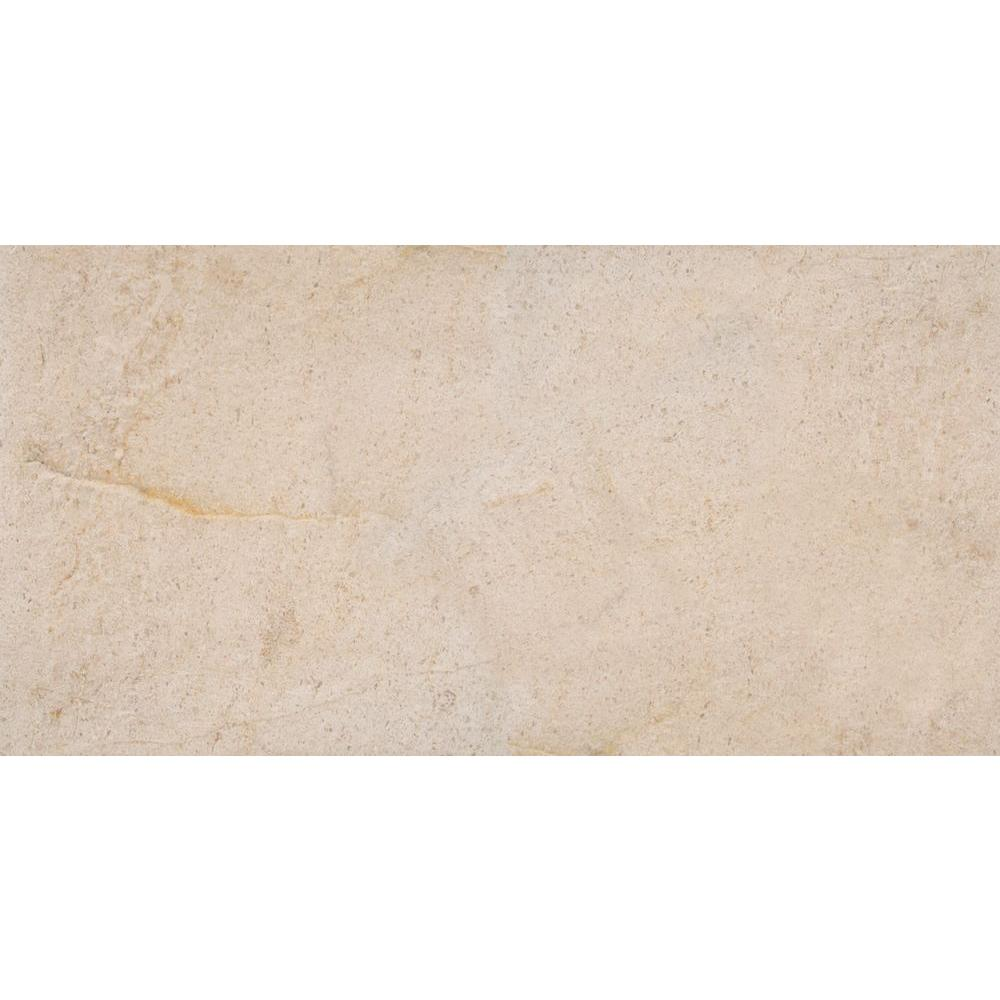Coastal Sand 12 in. x 24 in. Honed Limestone Floor and