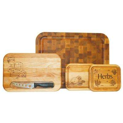 4-Piece Wooden Reversible Cutting Board Set