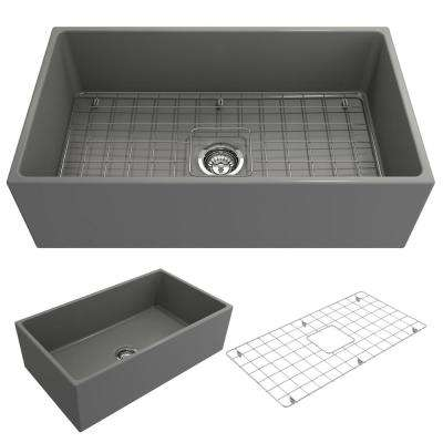 Contempo Farmhouse Apron Front Fireclay 33 in. Single Bowl Kitchen Sink with Bottom Grid and Strainer in Matte Gray
