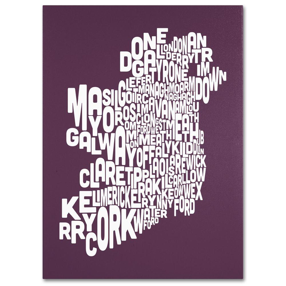18 in. x 24 in. Ireland Text Map - Mulberry Canvas