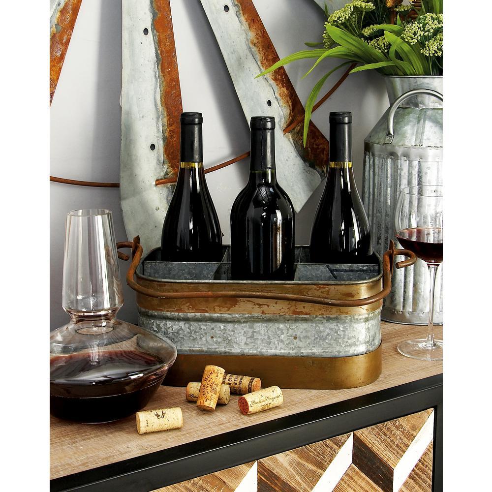 14 in. x 12 in. 6-Bottle Rounded Rectangular Wine Holder ...