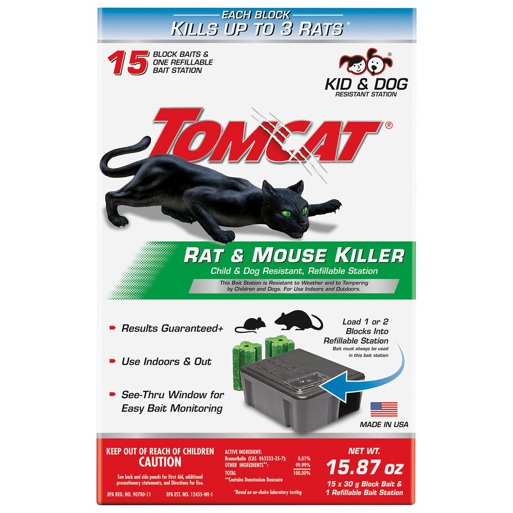 Tomcat Tomcat Rat and Mouse Killer Child and Dog Resistant, Refillable Station