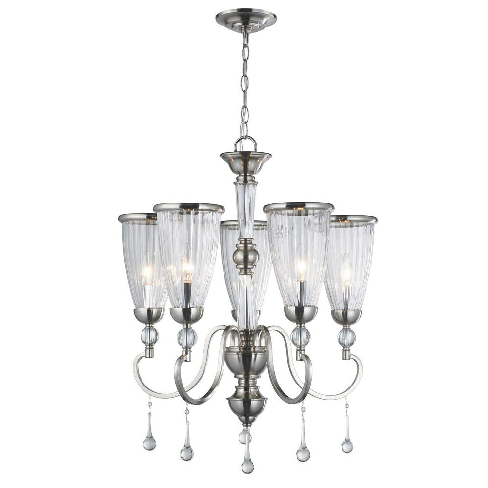 5 Light Brushed Nickel Chandelier With Crystal ...