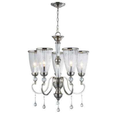 5-Light Brushed Nickel Chandelier with Crystal Adorned Clear Glass Shade