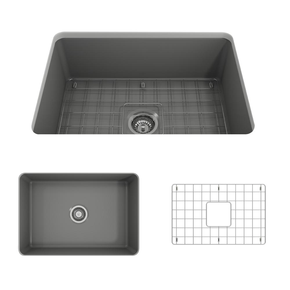 Sotto Undermount Fireclay 27 in. Single Bowl Kitchen Sink with Bottom