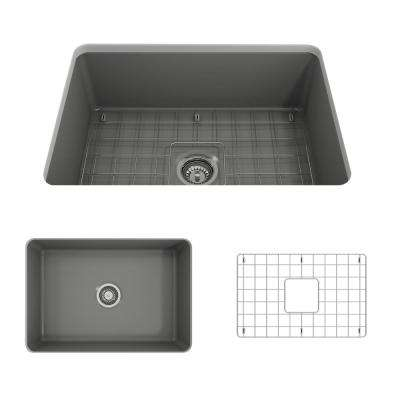 Sotto Undermount Fireclay 27 in. Single Bowl Kitchen Sink with Bottom Grid and Strainer in Matte Gray