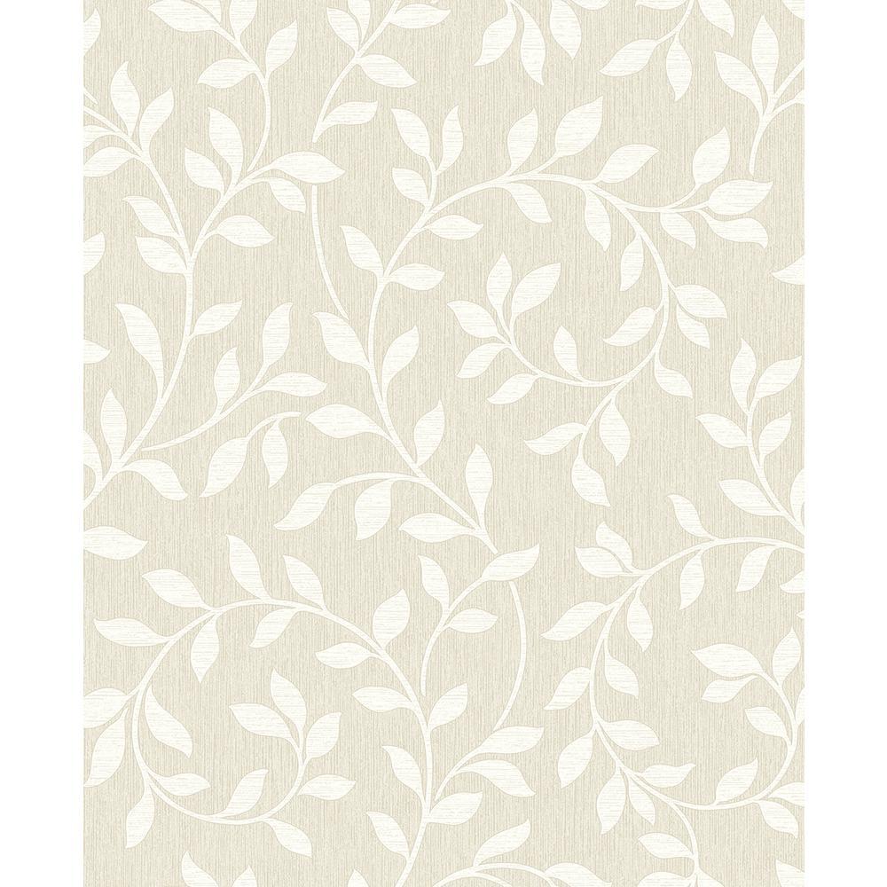 Advantage 8 in. x 10 in. Torrey Taupe Leaf Trail Wallpaper