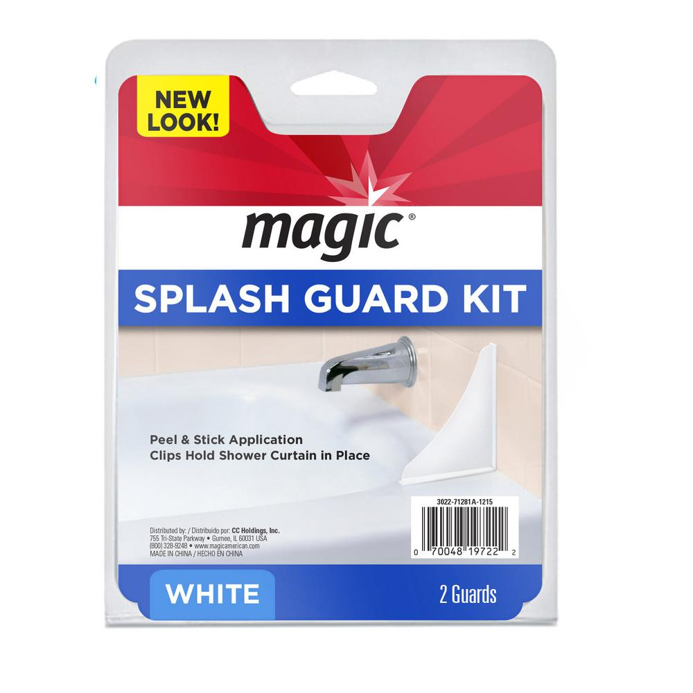 Magic Bath And Shower Splash Guard Kit In White 2 Piece